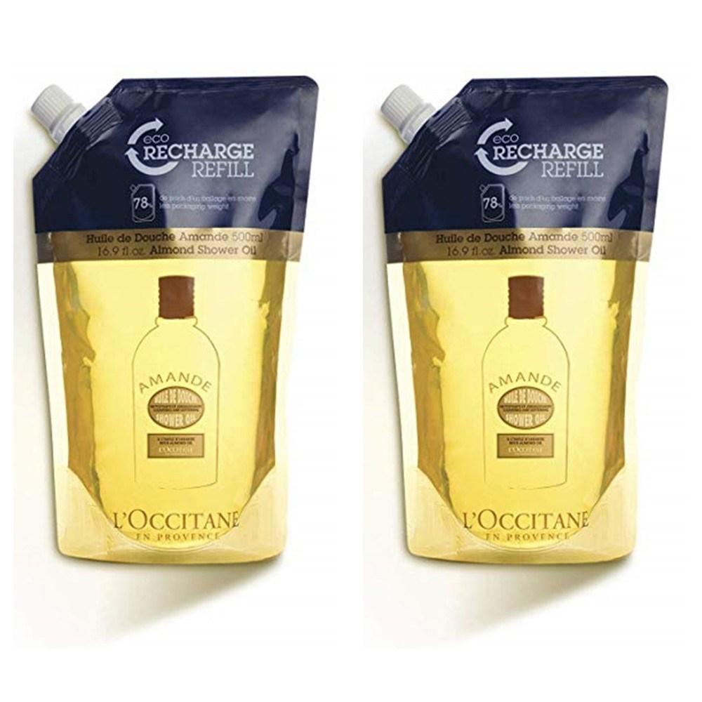 L'Occitane 록시땅 클렌징 앤 소프닝 아몬드 샤워오일 리필 16.9floz(500ml) 2팩, 500ml, 2개