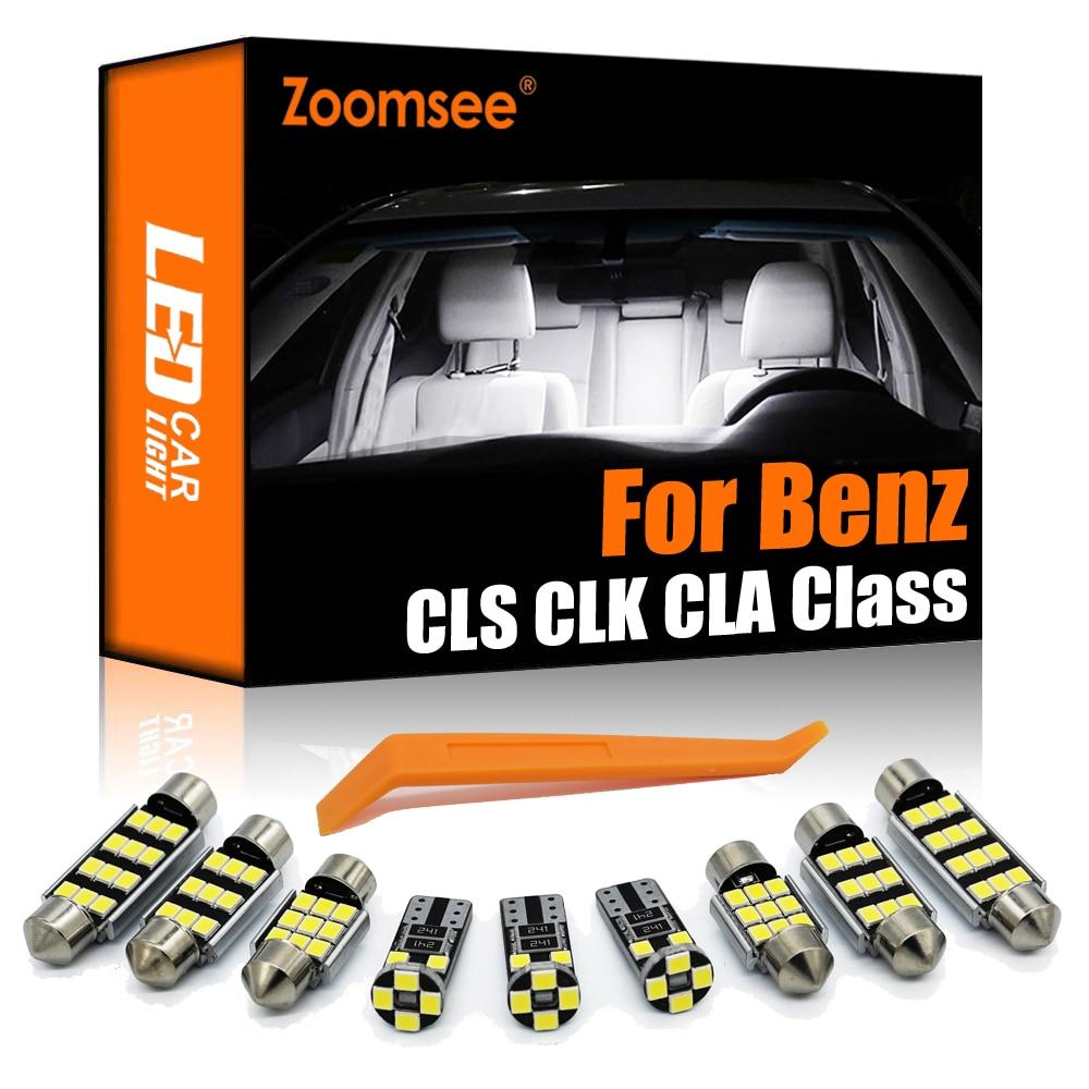 줌 참고 메르세데스 벤츠 CLS CLK CLA 클래스 W218 W208 C208 W209 C209 A209 C117 칸버스 자동차 LED 전구 내부 트렁크 조명 키트 신호등, 01 white, 03 CLK A209 9PCS (POP 5637573816)