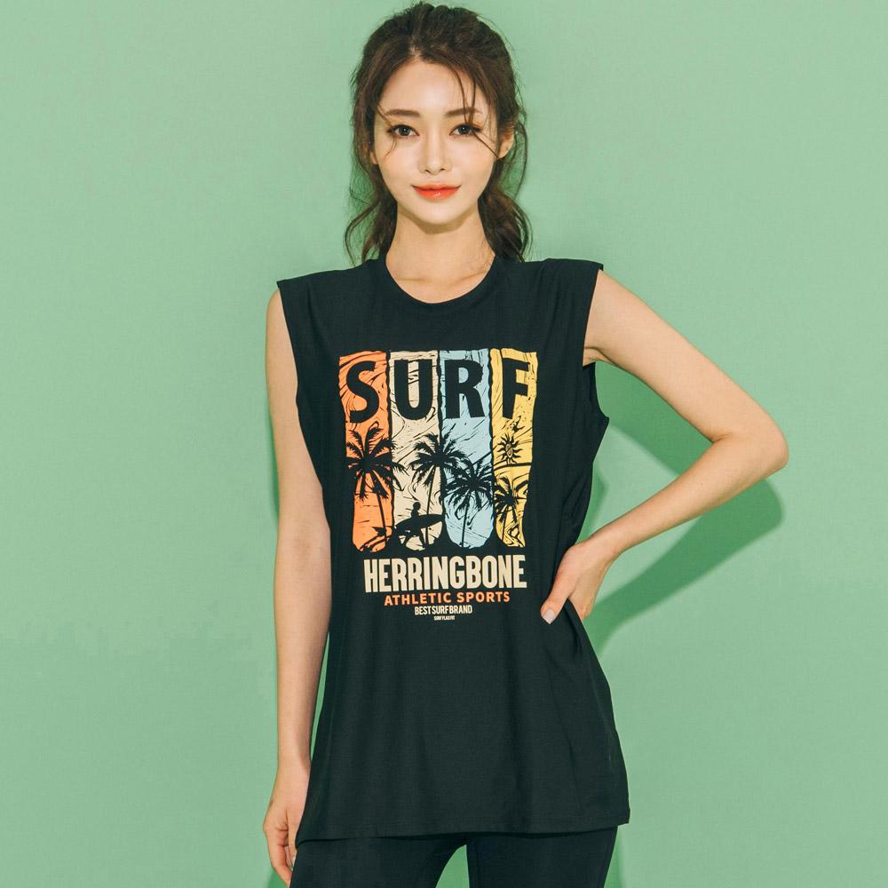 헤링본 여성용 나시 래쉬가드 수영복 비치웨어 바캉스룩 루즈핏 상의 RCX101