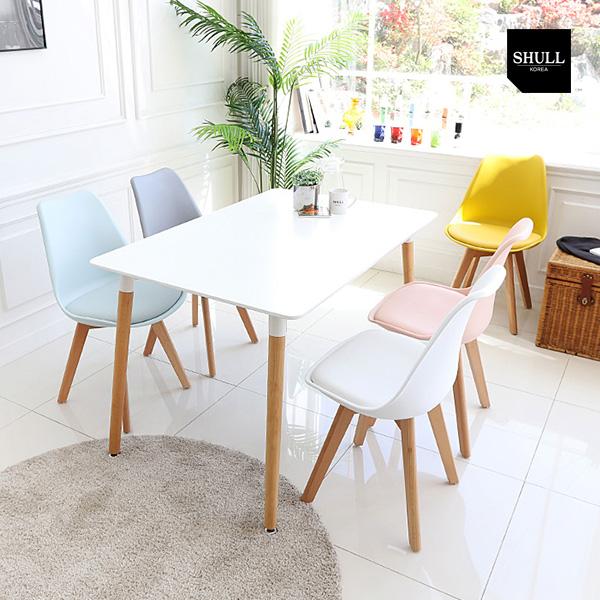 슐 엘론 HPM 화이트 우드 4인용 6인용 식탁+의자 4개 풀세트 SL110