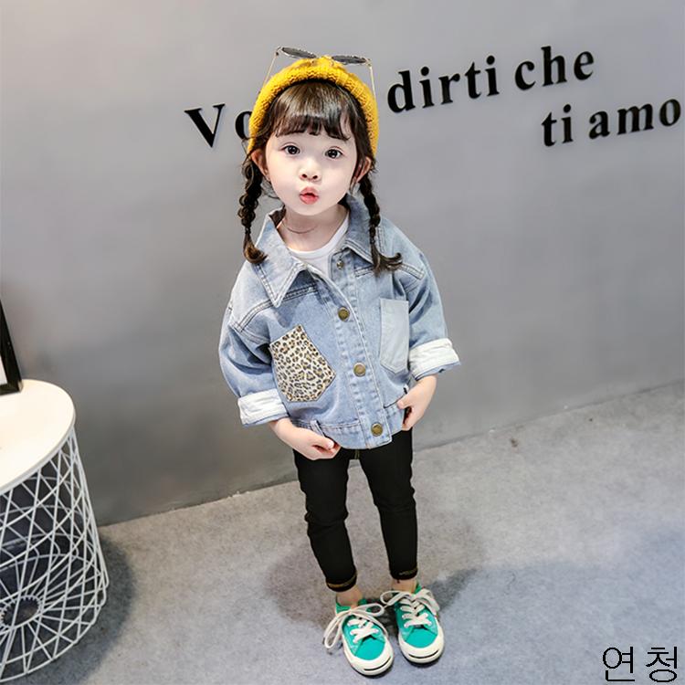 굿데이 컴퍼니 여아 캐주얼 봄 가을 얇은 데님재킷 아동 바람막이 청점퍼 패션 코트 lGNW02