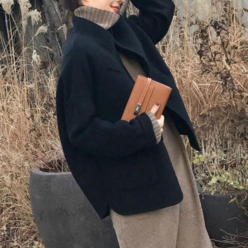 kirahosi 여성 캐시미어 오버핏 핸드메이드 코트 롱 코트 모직 자켓 반코트 N 240 +덧신 증정 V6hur1t