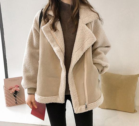 헤니스 심플 자켓 뽀글이 양털 무스탕