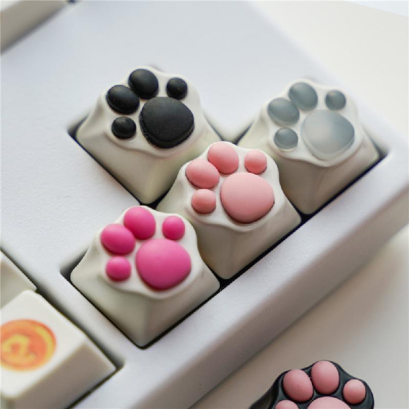 냥이 고양이발바닥키캡 포인트키캡 기계식키보드 키캡, 화이트파스텔핑크, 단품