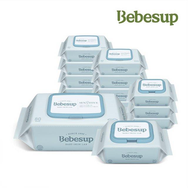 베베숲 센시티브 물티슈 엠보싱 캡 80매 10팩&휴대 캡형 20매 4팩 BEBESUP036, 단일상품