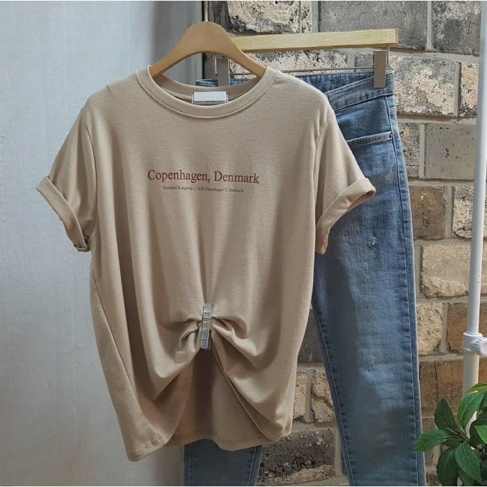상상그이상 여성용 찰랑 레터링 레이온 반팔 티셔츠