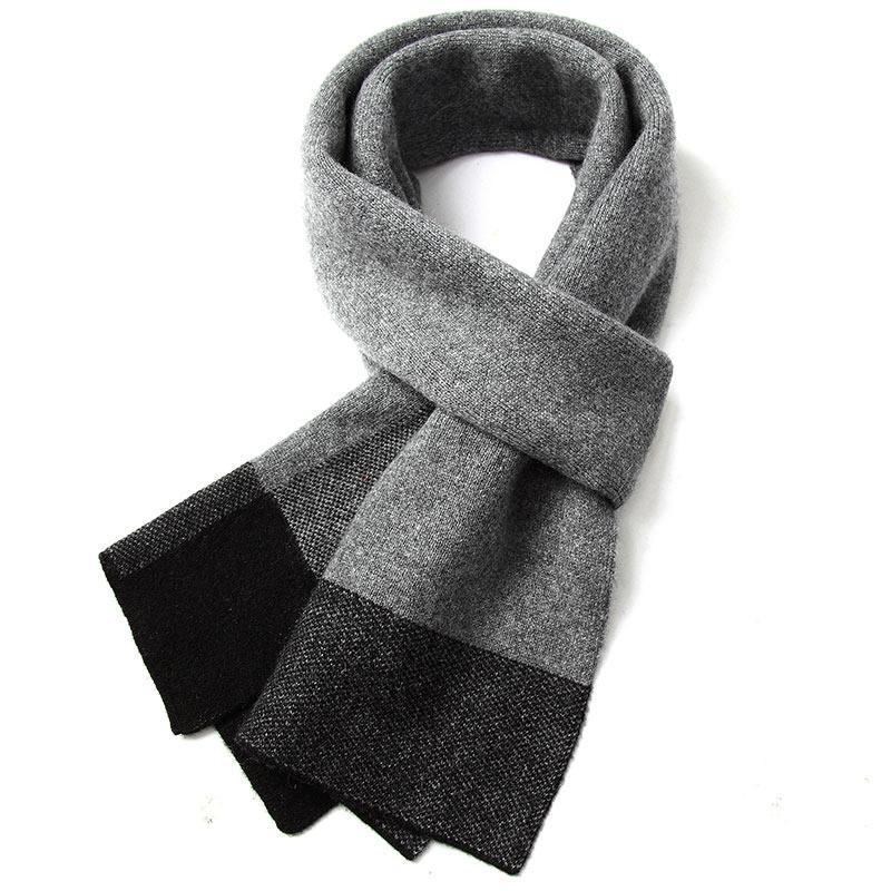몽골캐시미어 삼각숄 판초 순수 캐시미어 남성 격자 무늬 스카프 양면 두꺼운 가을과 겨울