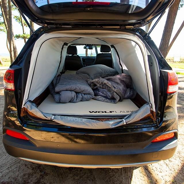 울프라운치 SUV 차량용 차박 캠핑 텐트 자동차 카니발 싼타페 쏘렌토 알루미늄 폴 라지 200 X 130 80Cm 설치 추천
