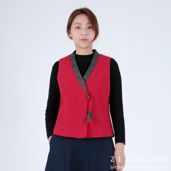 [8088] 누빔 여자 겨울 실크 조끼 개량한복 겨울한복 겨울개량한복 겨울생활한복 패션한복
