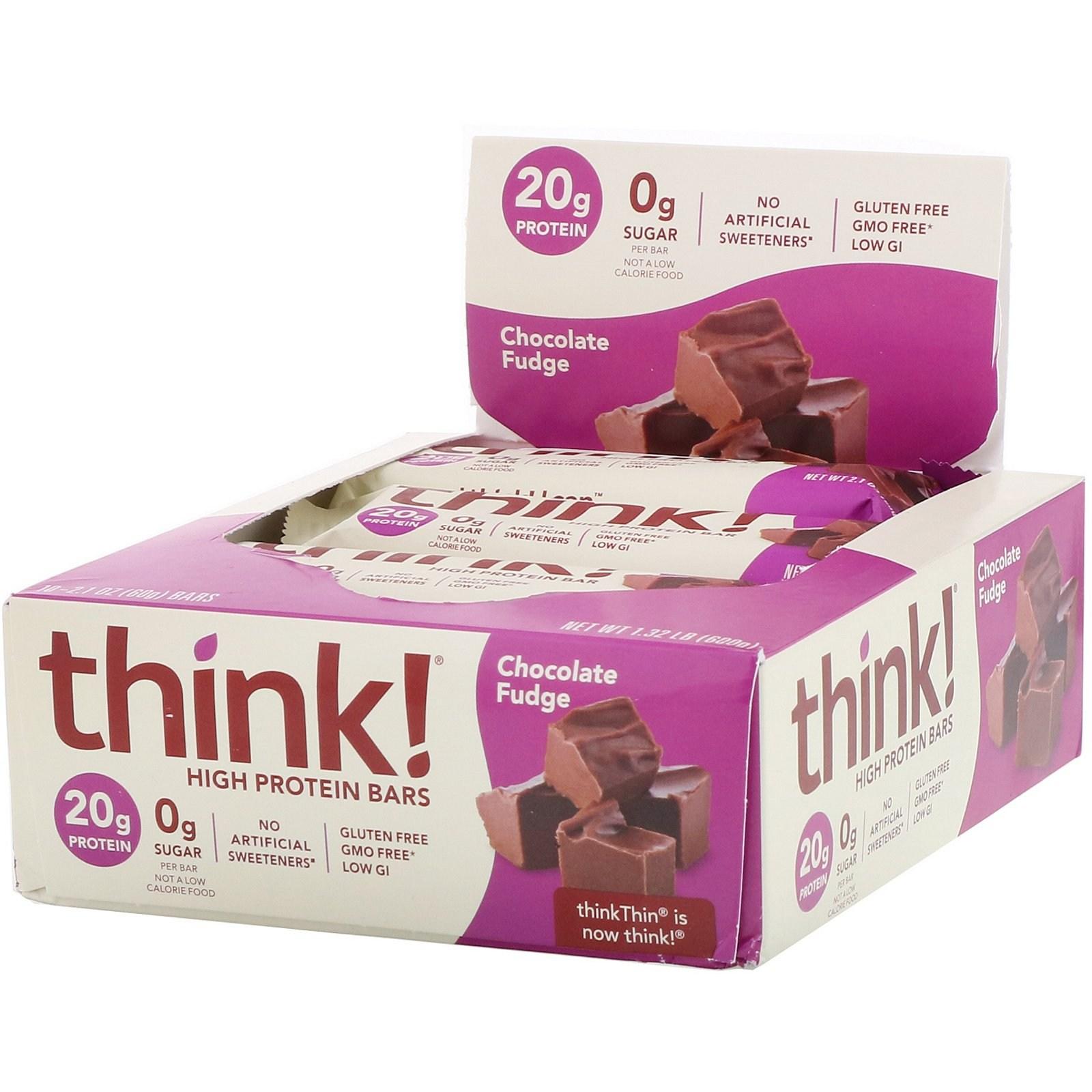 씽크씬 고단백질 바 초콜릿 퍼지 10 스낵바 각 60g 프로틴바, 1개, -