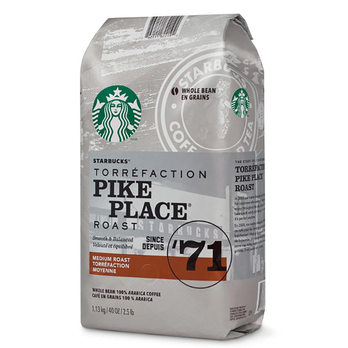 스타벅스 파이크 플레이스 홀빈 커피 1.13kg Starbucks Pike Place Whole Bean Coffee, 1130g