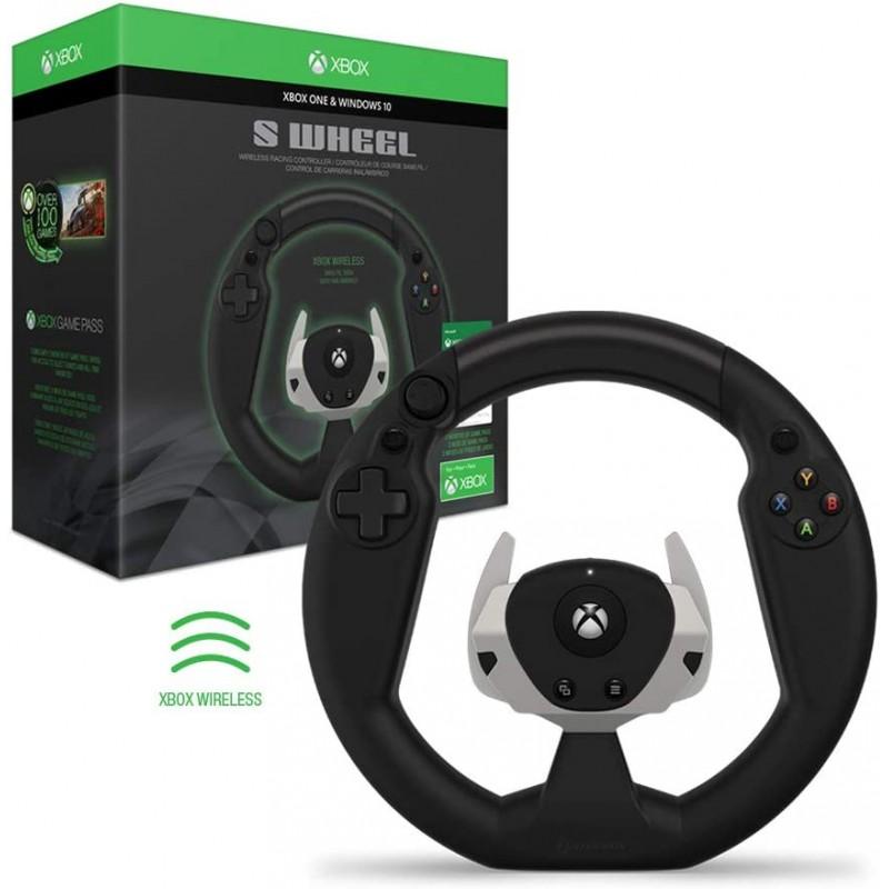 Xbox One 용 Hyperkin S Wheel 무선 레이싱 컨트롤러 (게임 패스 포함)-Xbox 공식 라이선스-Xbox One : 비디오 게임, 단일옵션
