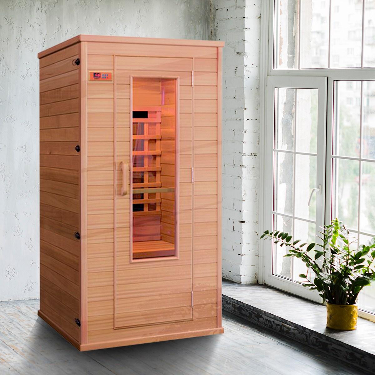 리치하우징 1인용 건식 찜질방 개인 사우나 반신욕기 가정용 좌훈 전신사우나 이동식 원적외선 100, 오렌지