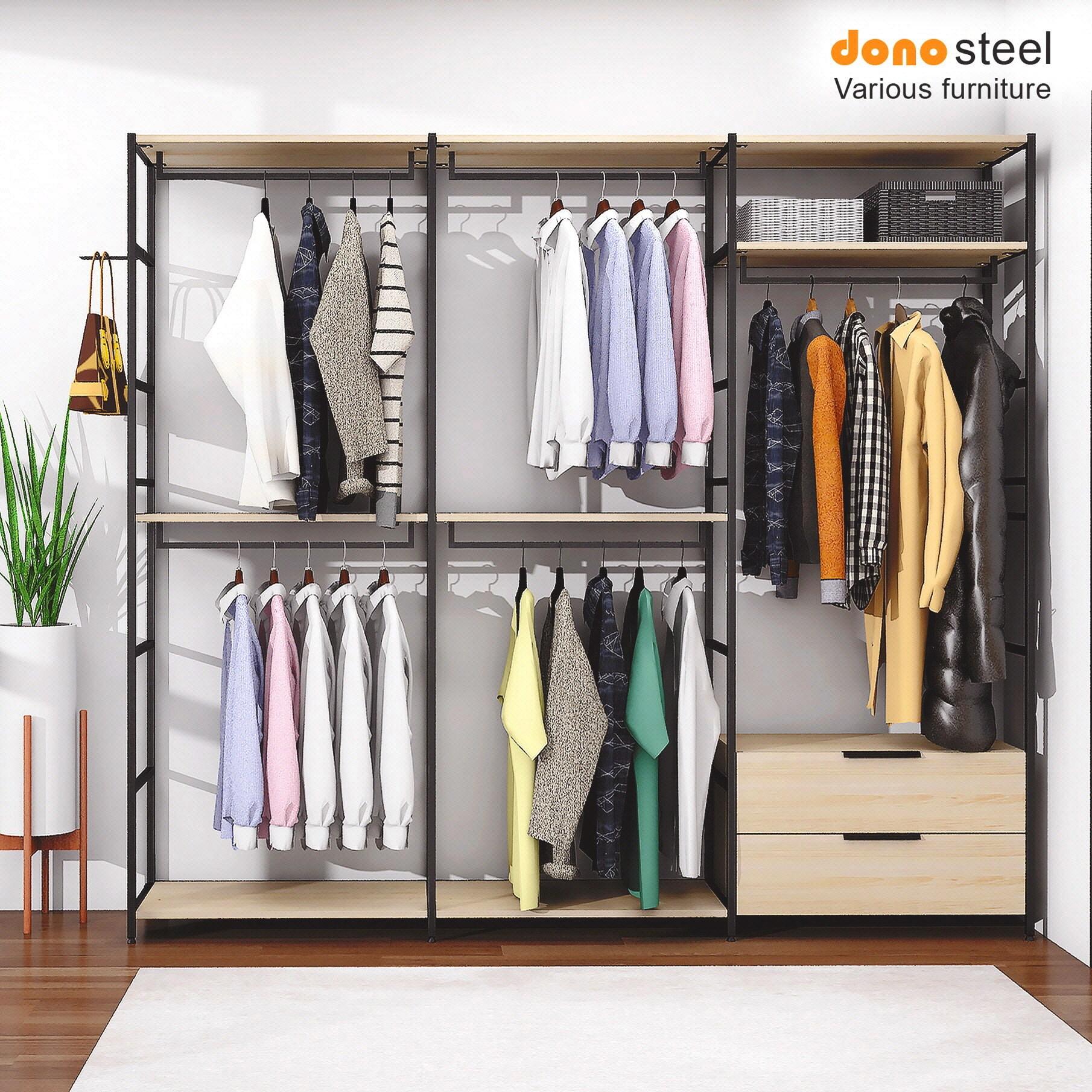 도노스틸 올리카 시스템연결옷장 6단3칸 서랍세트 드레스룸, A1. 옷장 6단3칸 (2행거+2행거+서랍)-도노오크