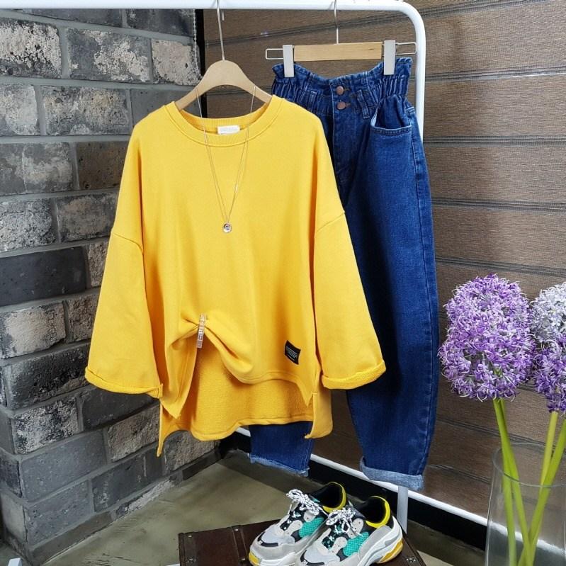 상상그이상 여성용 비비드 컬러 롤업 긴팔 박시핏 티셔츠