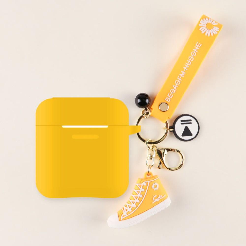QCY T8 무선 블루투스 이어폰 실리콘 케이스 커버, qcyt8 [오렌지 쉘 + 노란색 신발]