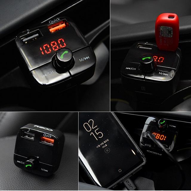 코시 차량용 V4.2 블루투스 핸즈프리 리시버 자동차 QC3.0 고속 충전 퀵차지 시거잭 무선 카팩 추천, AT2004BT