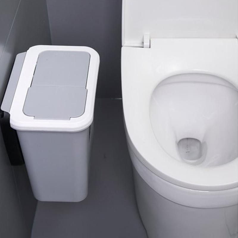 리빙셀렉트 화장실 벽걸이 휴지통 욕실 쓰레기통 브라켓포함, 1개, 뚜껑형 그레이(소)