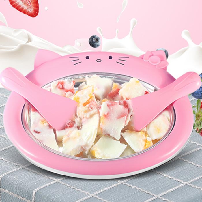 철판 아이스크림 메이커 만들기 기계 아이스크림팬 우유 크림 홈메이드 슬러쉬 세트, R99028P(핑크
