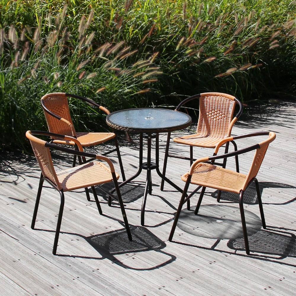 유로 강화 유리 610원형 40번 4인 야외 테이블 세트, 유로610원형+40번_월넛4개