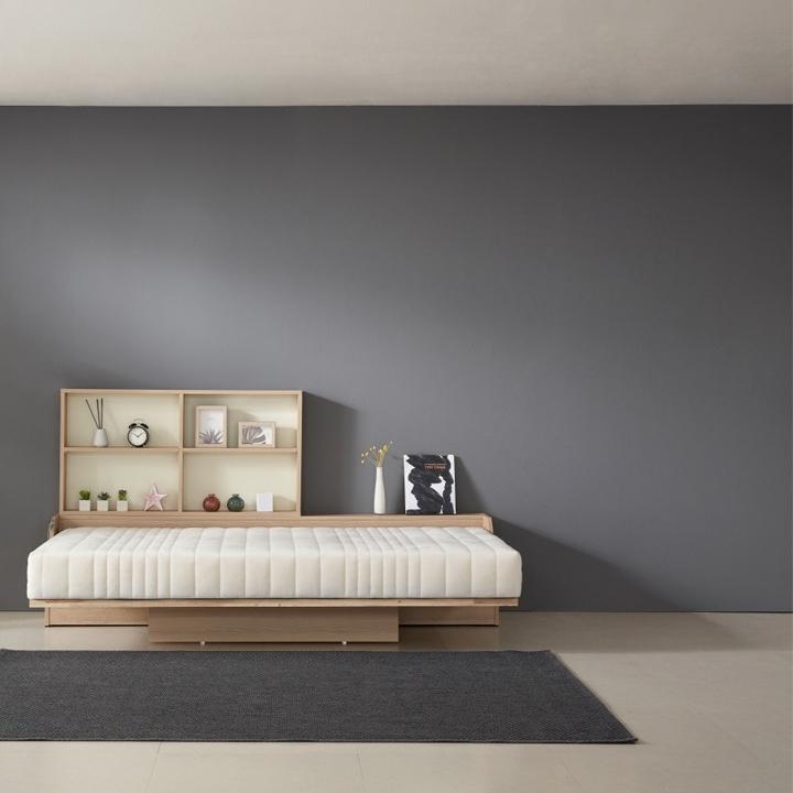 심포니 디자인 오키미키 월 베드 슈퍼싱글 접이식 침대 가로형 매트리스 포함+내부수납장 접이식침대