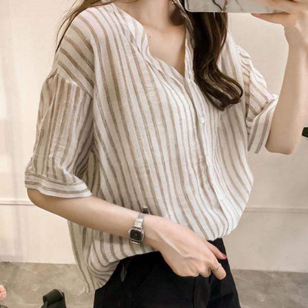 가바바 여성 린넨 셔츠 쿨쿨 시원해 보이는 줄무늬 브이넥 오피스룩 여름 린넨 셔츠 G36987