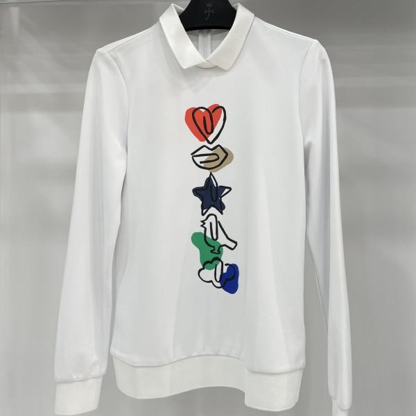 까스텔바작 여성골프웨어 S/S 여성 로고 포인트 반 집업 티셔츠 BG8S-TS506-WH