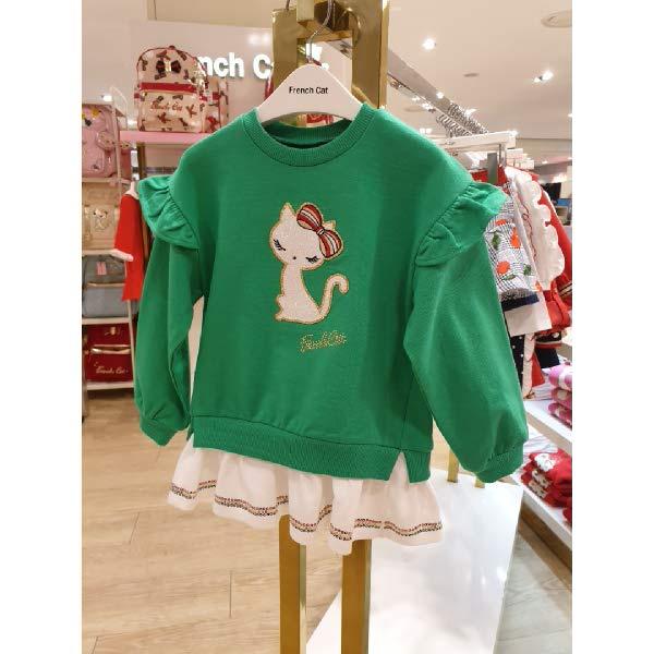 [현대백화점]프렌치캣 (Q01DAT190KT) 희망을 부르는 그린 프릴 롱 티셔츠k