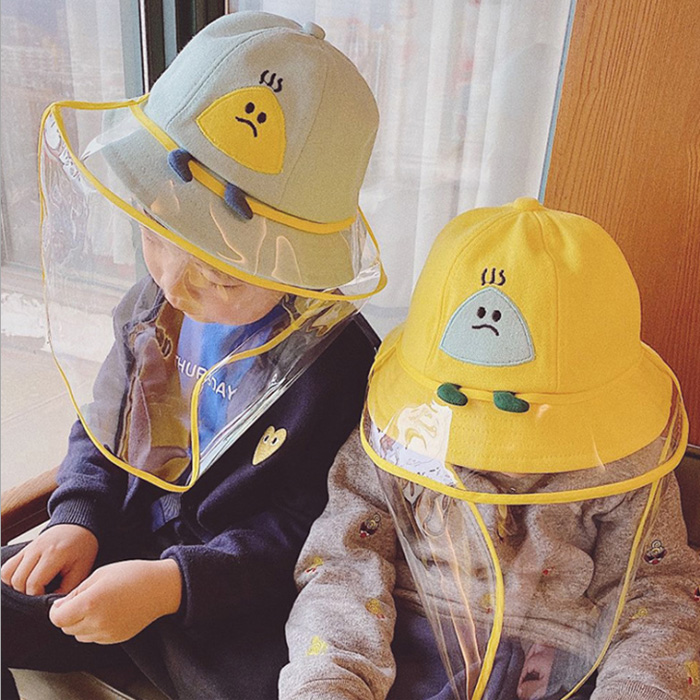 ROM 아동 비말 방지 모자 -가림막 탈부착 가능, 옐로우