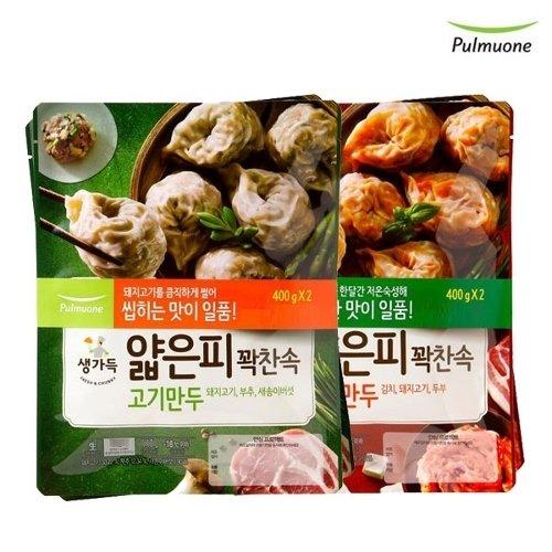 기타 풀무원 얇은피꽉찬속 김치만두+고기만두, [풀무원]얇은피꽉찬속 김치만두 2봉+고기만두 2봉(총4봉), 각 2봉