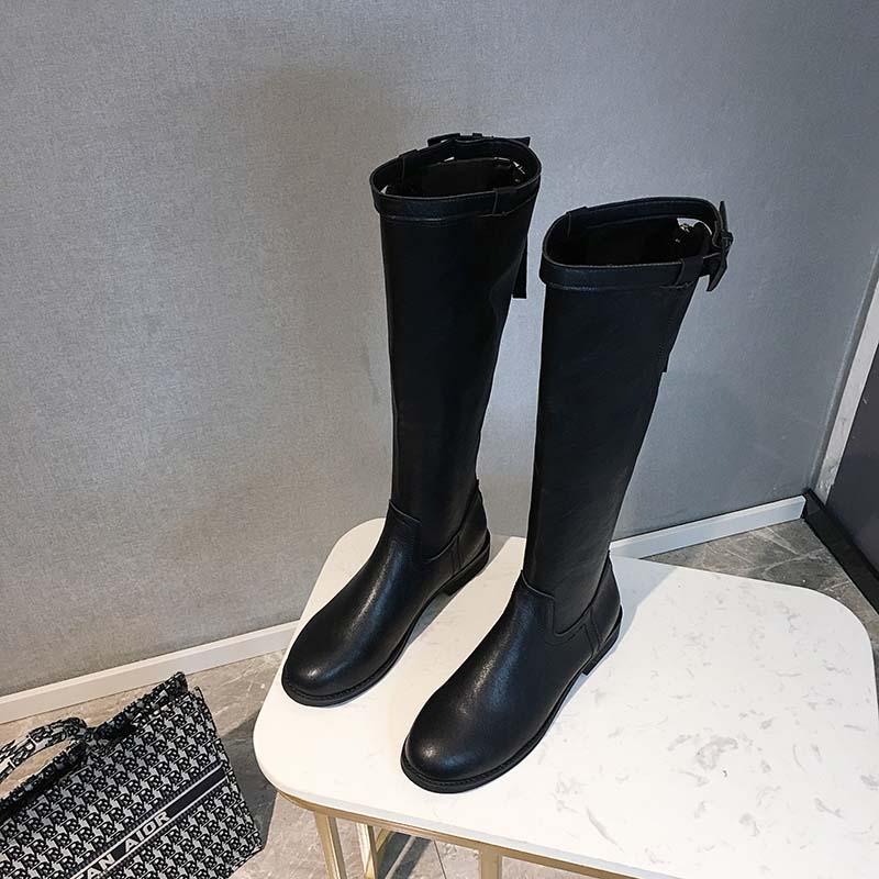 빈티지 블랙 여성 롱 부츠 무릎 컷 가을 라이더 룩 슈즈 신발