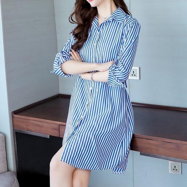 봄신상 여자 스트라이프 셔츠 원피스 2 AYpb1jz