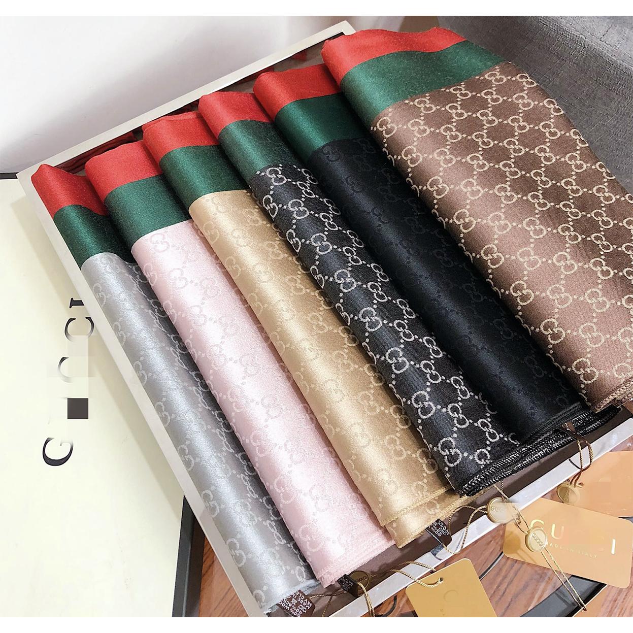 크몽 구찌 쌍g 자수 유럽 명품브랜드 새 디자인 스카프 가을겨울 순색 록색 목도리 여성 에어컨 목도리 도매가능