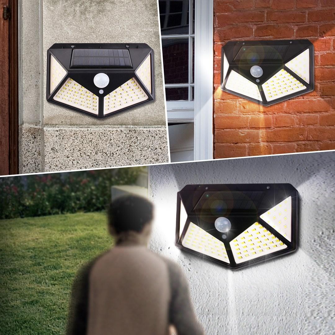 [태양광정원등] 태양광 45구 감지벽부등 정원등 LED조명 야외조명, 태양광 100구 감지 벽부등