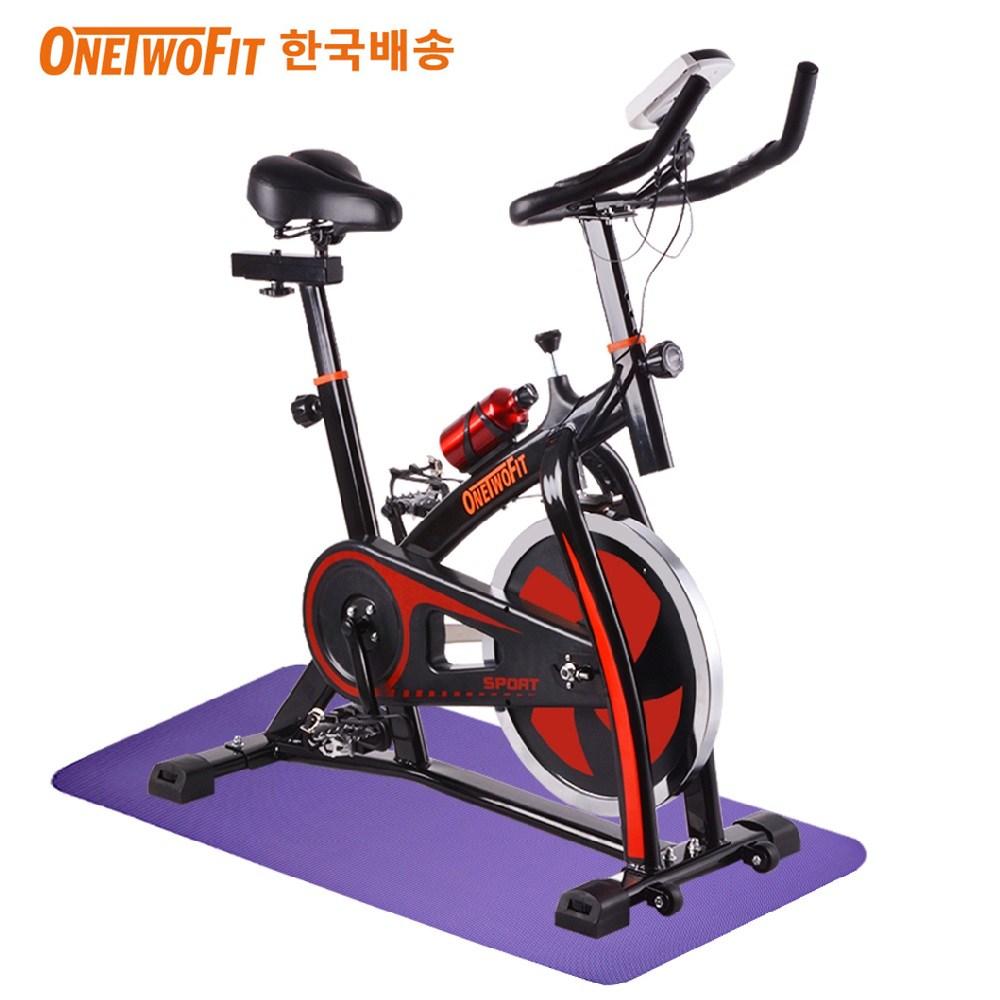 OneTwoFit 스핀바이크 클럽형 스피닝자전거 무소음 실내자전거+전용매트, 혼합색상, 10kg휠