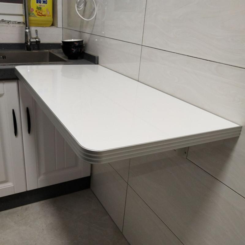 테이블 반원 침대 틈새 선반 모듈 가구 접이식 식탁 벽걸이 주방 학습, 80x30  페인트+스테인리스 지지대