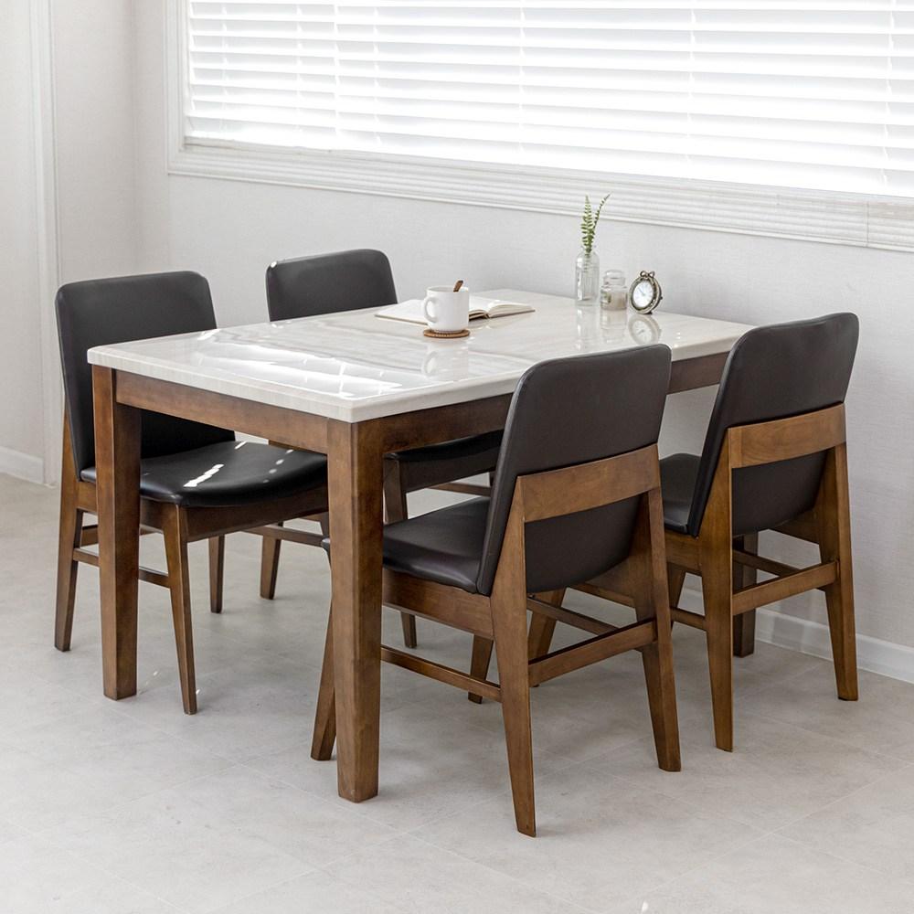 라로퍼니처 로망 대리석 4인용 식탁 세트 원목식탁 4인식탁 식탁세트, 2.4인 의자형(테이블+의자4)