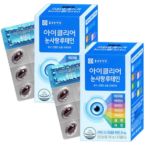 종근당건강 아이클리어 눈사랑 루테인 30캡슐, 30정, 2개