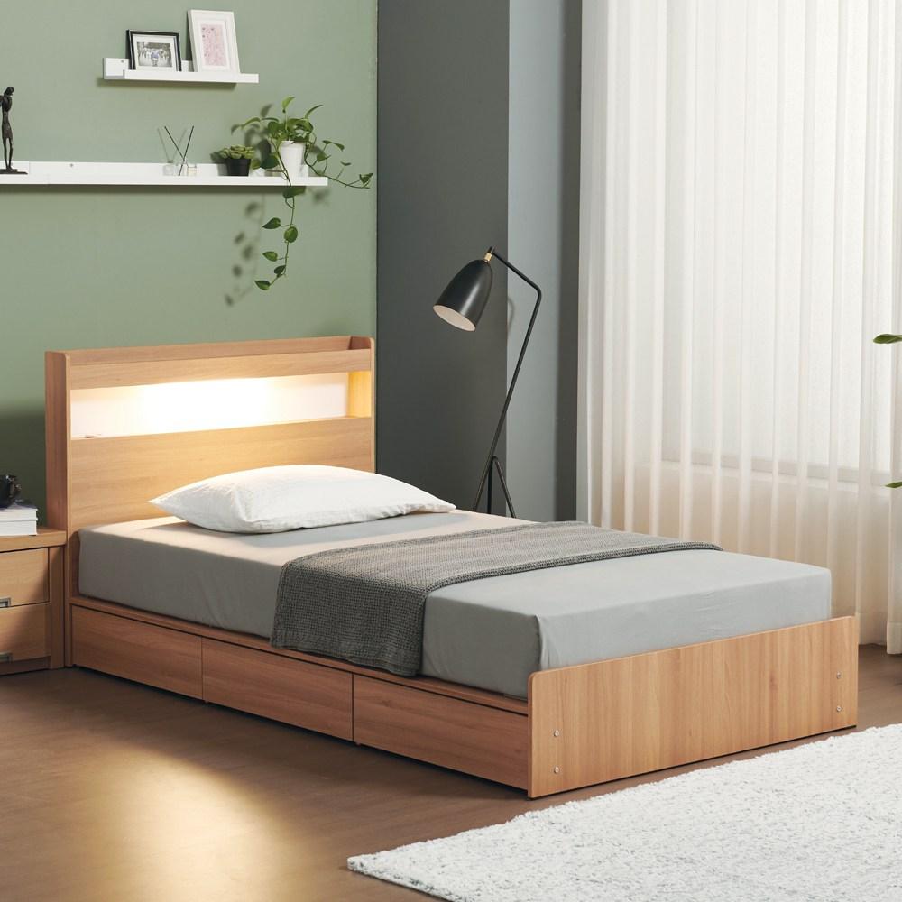 젠티스 LED 3단 멀티수납 평상형 슈퍼싱글 퀸 침대프레임 (매트선택), B. 브루노 (오크)