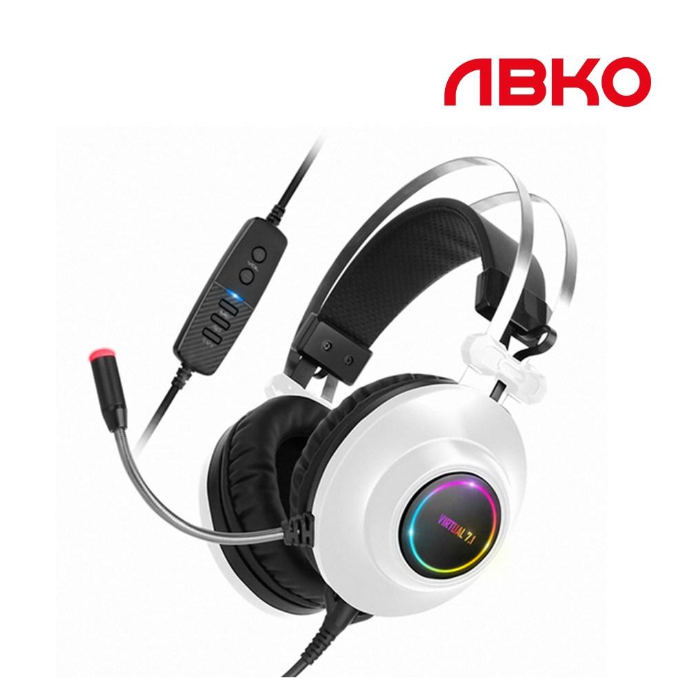 앱코 HACKER N550 ENC 가상 7.1 진동 게이밍 헤드셋, 화이트