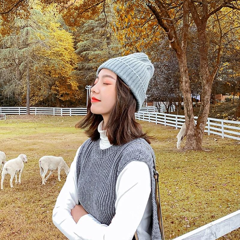 비니 ins단색 모자 가을겨울 니트모자 스윗귀여운 코디하기쉬운 겨울