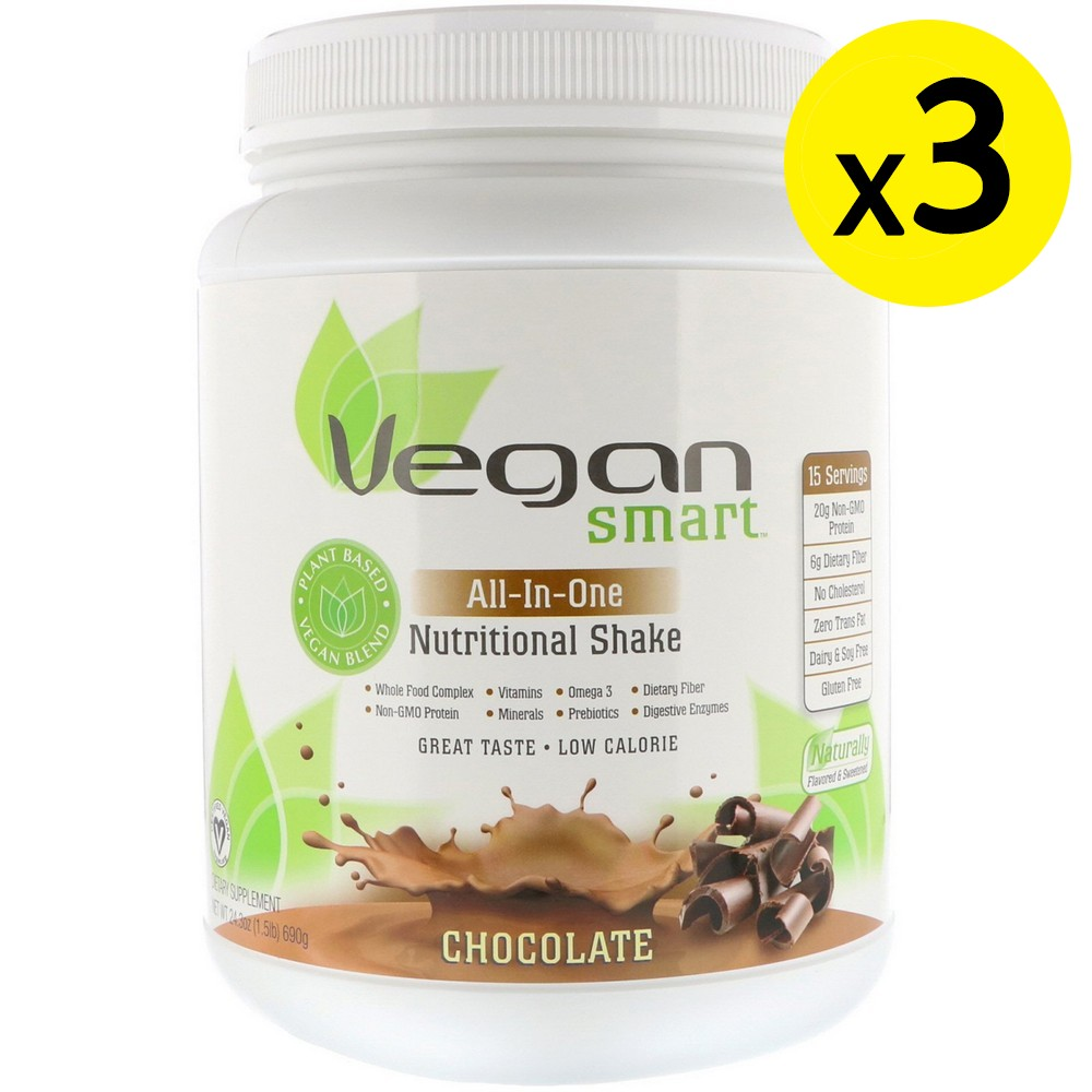[미국직구]VeganSmart 올인원 영양 셰이크 초콜릿 690 g(1.51lbs) 3개, 선택, 상세설명참조