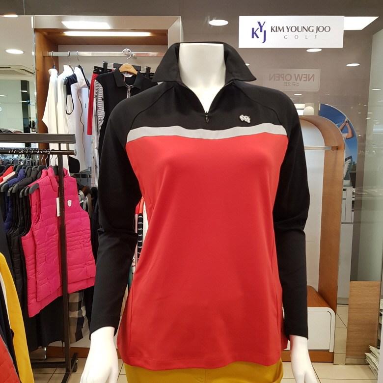 김영주골프 [주문폭주상품] 핏이 예쁜 컬러배색 반집업 넥 여성 골프티셔츠