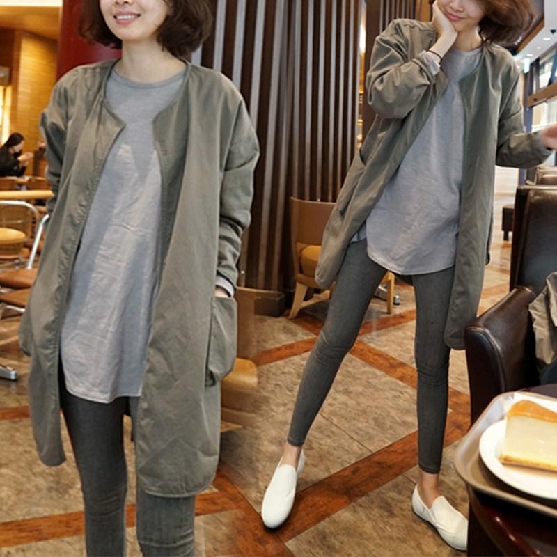 트렌치코트 윈드 브레이커 여성용 중간 길이 2020 가을 버전 느슨한 얇은 스타일 캐주얼 작업복 봄과 재킷