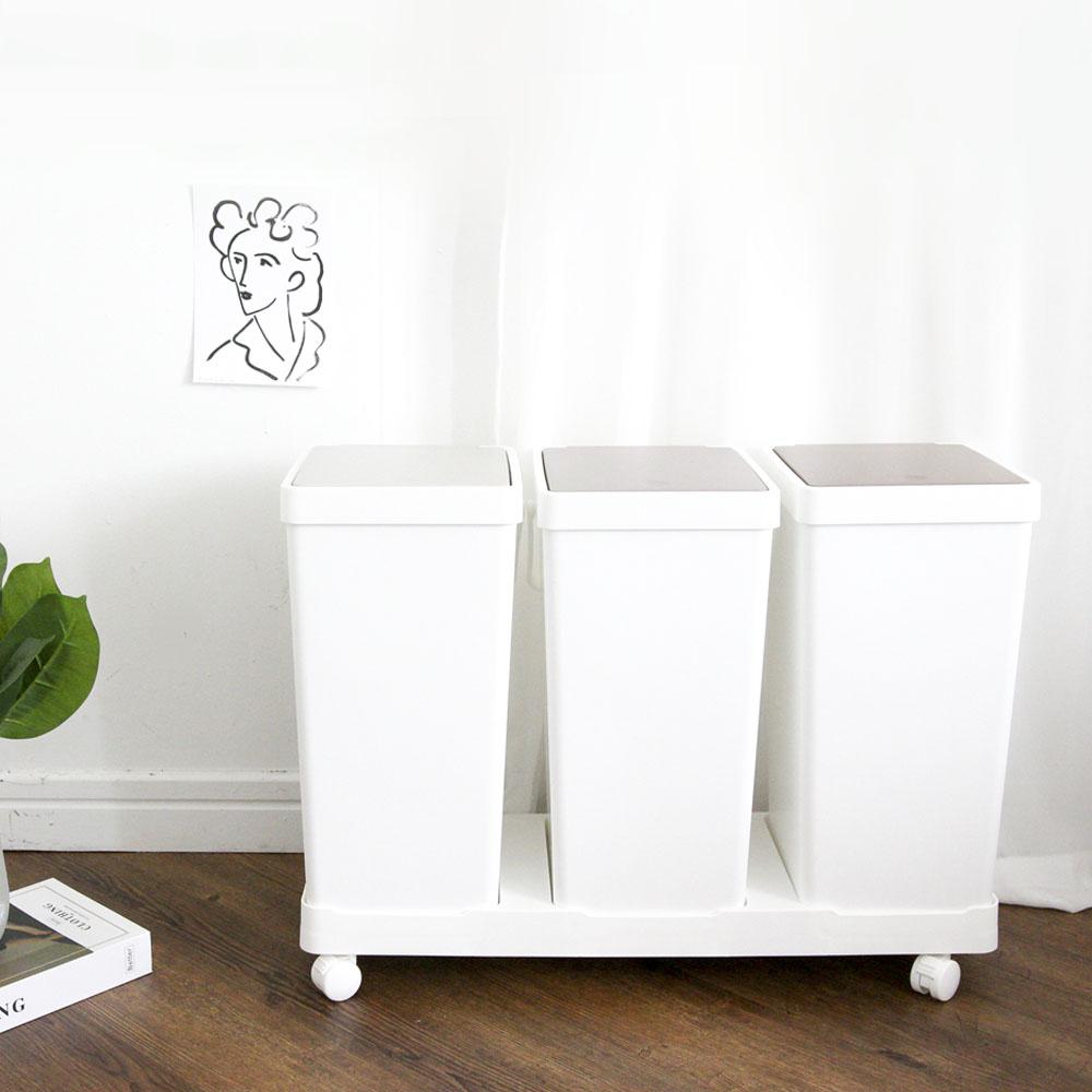 마켓드봉 원룸 재활용 대형 쓰레기 통 원터치 이동식 가정용 분리수거함, 3단