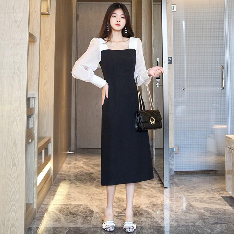봄 여름 얇은 레이스 결혼식 하객 플라워 원피스 블랙 스퀘어 칼라 드레스 여성