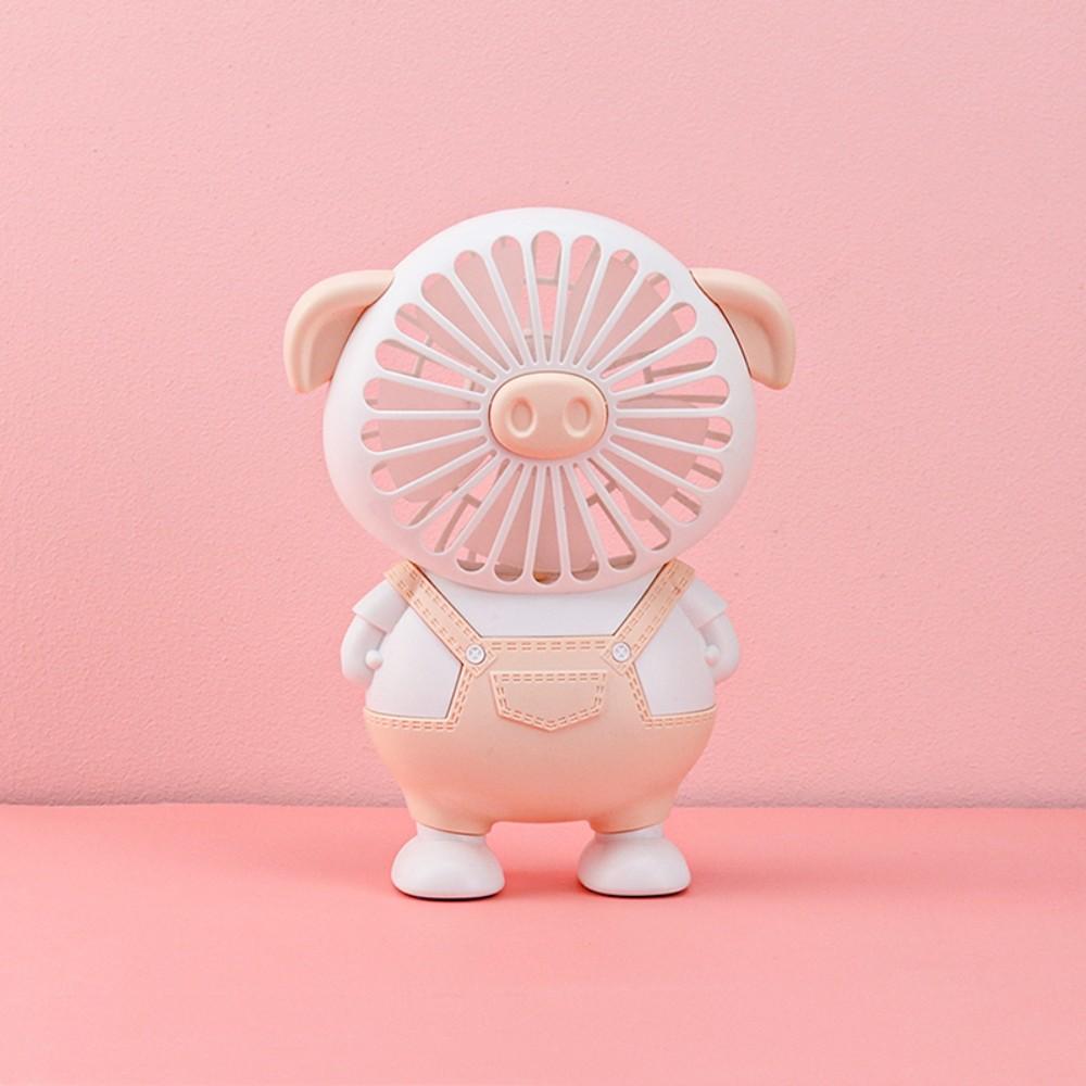 돼지 캐릭터 선풍기 휴대용 쿨링 팬 탁상 스탠드 직장인 미니 귀여운 손풍기 캠핑 차박, 핑크 (POP 5227180236)