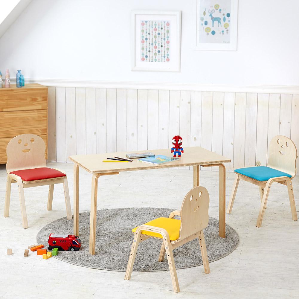 토리 원목 초등 쿠션의자 직사각 책상세트 8-10세, 초등 직사각 내추럴 책상 / 쿠션의자 빨강+파랑