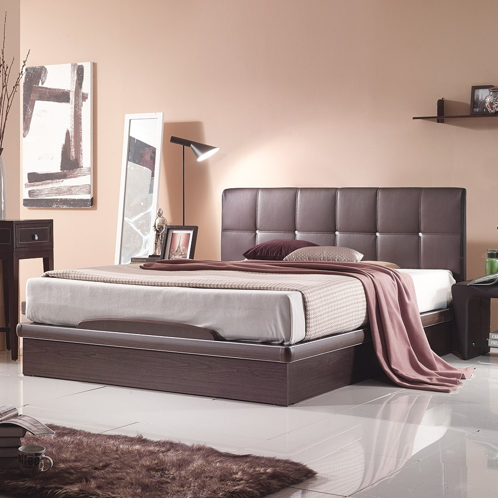 젠티스 메이 평상형 PU가죽(매트리스포함) 침대세트 퀸사이즈, 월넛, 프레임+참숯지퍼골드 매트리스