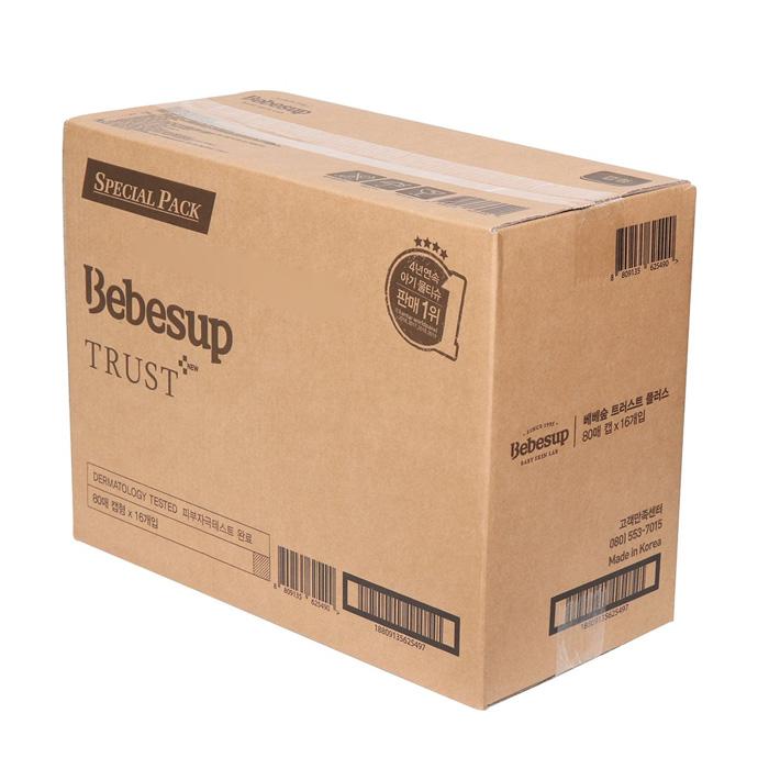 베베숲 트러스트 플러스 (캡형) 물티슈 80매x16개, 16개 X 80매